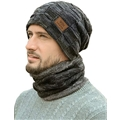 LCZTN Mens Winter Beanie Hat Scarf Set Warm Fleece Lined Knit Ski Hats Slouchy Skull Cap for Unisex Gift