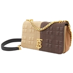 Burberry Brown Small Quilted Colour Block Lambskin Lola Bag