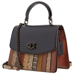Coach Parker Top Handle with Patchwork Stripes And Snakeskin Detail