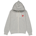 Comme Des Garcons Ladies Embroidered Hearts-appliqued Cotton-jersey Hoodie