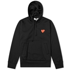 Comme Des Garcons Ladies Long-sleeve Embroidered Heart Logo Hoodie In Black