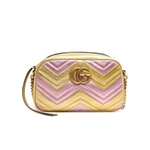 Gucci Gold / Pink Laminated GG Marmont Bag