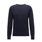 Hugo Boss Mens Pure Cotton Crewneck Knitted Sweater in Dark Blue