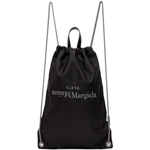 Maison Margiela Black Embroidered Logo Drawstring Backpack