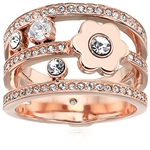Michael Kors Womens In Full Bloom Floral and Crystal Accent Stacked Ring