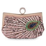 Tanpell Womens Sequins Beaded Evening Bag Rhinestone Peacock Embroidery Clutch Purse