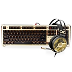 BLOODY [GOLD BUNDLE] Optical Gaming Keyboard & Headset Bundle in Gold - Light Strike Optical Switches (Faster Than Mechanical/0.2ms Response) & 40mm Carbon Fiber Driver Gaming Headset wit