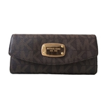 Michael Kors Signature PVC Slim Flap Wallet in Brown