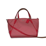 Coach - F57244 - Small Kelsey Satchel In Legacy Jacquard Milk Bright Pink