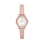 Michael Kors Womens Sofie Stainless Steel Analog-Quartz Watch with Leather Calfskin Strap, Pink, 10 (Model: MK2715