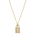 Michael Kors Womens Heritage In Full Bloom Pave Lock Pendant Necklace