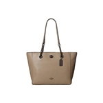 Coach Turnlock Polished Pebbled Leather Chain Tote 27 Fog
