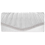 BaoLan Evening Clutch, Womens Satin Pleated Envelope Clutch Purses, Handbags For Wedding And Party