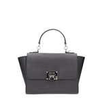 Michael Kors Tina MD Saffiano Leather Satchel Bag in Black/Silver Tone Hardware
