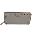 Michael Kors Studded Zip Around Continental Leather Clutch Pearl Grey
