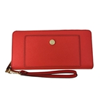 Michael Kors Greenwich Leather Travel Continental Zip Wallet in Sienna/Luggage