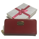 Michael Kors ZA Continental Jet Set Clutch Wallet with Gift Box (Red Patent Leather)