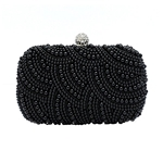 Albabara Womens Satin Beaded Evening Bag Handmade Party Clutch Pearl Evening Bags