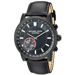 Michael Kors Access Mens Hutton Hybrid Smartwatch Quartz Stainless Steel and Leather Casual Watch, Color Black (Model: MKT4025)