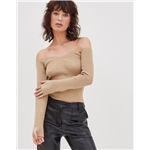 Asos 4th & Reckless knitted off shoulder plunge sweater in camel