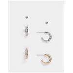Asos ALDO Galirerith crystal huggy earrings multipack in gold and silver