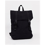 ASOS DESIGN backpack in black corduroy with faux leather base