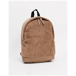 ASOS DESIGN backpack in camel borg with faux leather base