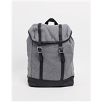 ASOS DESIGN backpack in gray melton with contrast faux leather base