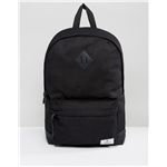 ASOS Unrvlld Supply backpack in black canvas with faux leather base and branded patch