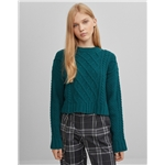 Asos Bershka cable knit chenille sweater in green