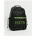 Asos HXTN Supply Prime backpack in black with neon print
