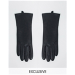 Asos My Accessories London Exclusive gloves leather look with touch screen in black