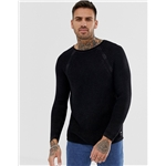 Asos Replay muscle fit mesh sweater in black