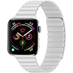 RKS White Magnetic Leather Band for Apple Watch - 38mm 40mm 41mm Wrists Fits for 6.5 - 8.6 Inch (165mm - 220mm) Compatible With Series 7,SE, 6, 5, 4, 3, 2, 1