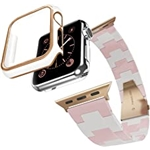 EURCRBU EURCEBU Resin Strap Compatible with Apple 38mm Watch Bands, Resin Strap+Case Two-in-One Adjustable Stainless Steel Buckle Replacement Wristband, for Apple iWatch Series SE/7/6/5/4/