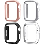 Mugust 4 Pack Compatible for Apple Watch Case 38mm [NO Screen Protector] Series 3 2 1, Hard PC Bumper Case Protective Cover Frame Compatible for iWatch 38mm, Black/Rose Gold/Silver