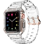 Compatible for Apple Watch Clear Band 41mm 40mm 38mm with Case, amBand Women Cute Girl Crystal Clear Jelly Protective Case with Bands for Apple Series 3 Watch Band and iWatch 7 6 5