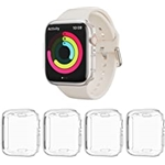 BHARVEST [ 4 Pack] Case Compatible with Apple Watch Series 7 45mm, Soft TPU Plated All Round Scratch Resistant Screen Protector Cover for 2021 Apple Watch Series 7 Accessories(4 Cl