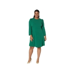 London Times Plus Size Scuba Crepe Stylized Fit-and-Flare