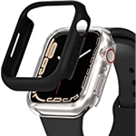 [2 Pack] DABAOZA Compatible for Apple Watch Case 45mm Series 7 [No Screen Protector], Black iWatch Bumper Edge Case PC Clear Shockproof Protective Cover Frame for iWatch Series 7 (