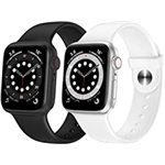 OUHENG 2 Pack Sport Band Compatible with Apple Watch Band 41mm 40mm 38mm 45mm 44mm 42mm, Soft Silicone Band Replacement Strap for iWatch Series 7/6/5/4/3/2/1 SE (Black/White, 41mm
