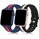 Bagoplus 2 Pack Designer Sport Band Compatible with Apple Watch Band 38mm 40mm 41mm 42mm 44mm 45mm iWatch Bands for Women Men, Soft Silicone Sport Strap for Apple Watch Series 7 6
