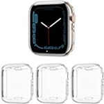 Cuteey 3 Pack Compatible for Apple Watch Series 7 41mm Screen Protector Case, All Round Full Protection TPU Cover Bumper for iWatch Series 7 41mm Accessories Clear+Clear+Clear