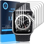 [6 Pack] LK Apple Watch Screen Protector, Compatible with Apple Watch Series 7 45mm, Series 6/5/4 SE 44mm, Self-Healing TPU Film, Ultra-Thin, HD, Large Coverage, Bubble-Free iWatch