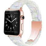 YGTIECS Resin Apple Watch Band Compatible with Apple Watch Band 38mm 40mm 41mm Women Men, Combine with Stainless Steel Connector for iWatch Band Series SE 7 6 5 4 3 2 1 - Pearl Pha