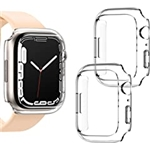[2 Pack] Goton Compatible for Apple Watch Case Series 7 41mm,Hard PC Edge Bumper Case Protective Cover Frame Compatible for iWatch Series 7 41mm (Clear+Clear, 41mm)
