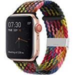 YOTAN Braided Solo Band Compatible with Apple Watch 38mm 40mm, Adjustable Soft Stretch Sport Elastics Women Men Loop Strap Compatible with iWatch Series 6/5/4/3/2/1 SE Colorful