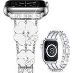 Cesicersi Compatible with Apple Watch Band 41mm 40mm 38mm Women,Luxury Bling Diamond with Clover Stainless Steel Bracelet Strap for iWatch Series 7 6 SE 5 4 3 2 1,Sliver/White