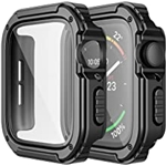 Adepoy 2 Pack Rugged Case Compatible for Apple Watch 44mm Series SE/6/5/4 with Tempered Glass Screen Protector, Military All Around Hard TPU Protective Cover Case Shockproof Bumper