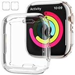 [2 Pack] Apple Watch Series 7 41mm Screen Protector Case,JZK Soft Slim TPU All Around Protective Shell Anti-Scratch Bumper Cover Case for Apple Watch Series 7 41mm Accessories,Clea